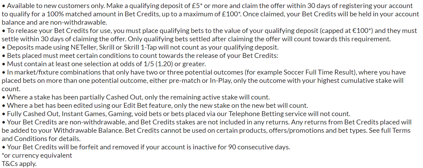 bet365 bonus code terms