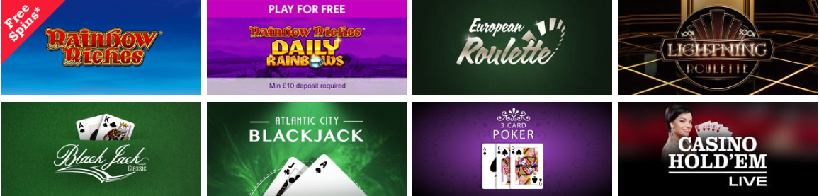 Rainbow Riches Casino Promotional Codes for UK