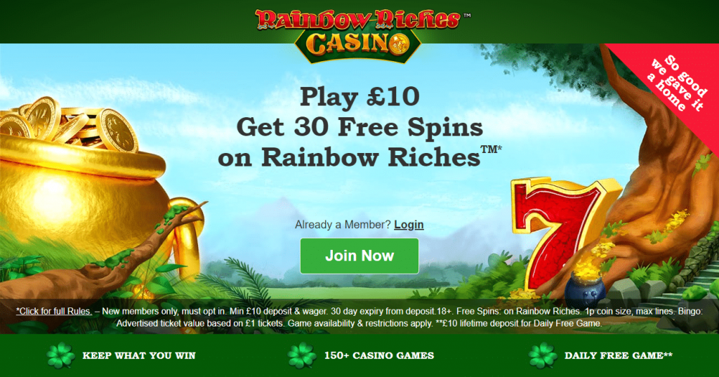 Rainbow Riches Casino Welcome Offer